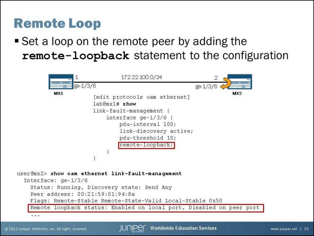 Junos Service Provider Switching Setting a Remote Loop In the example on the slide, MX1 is