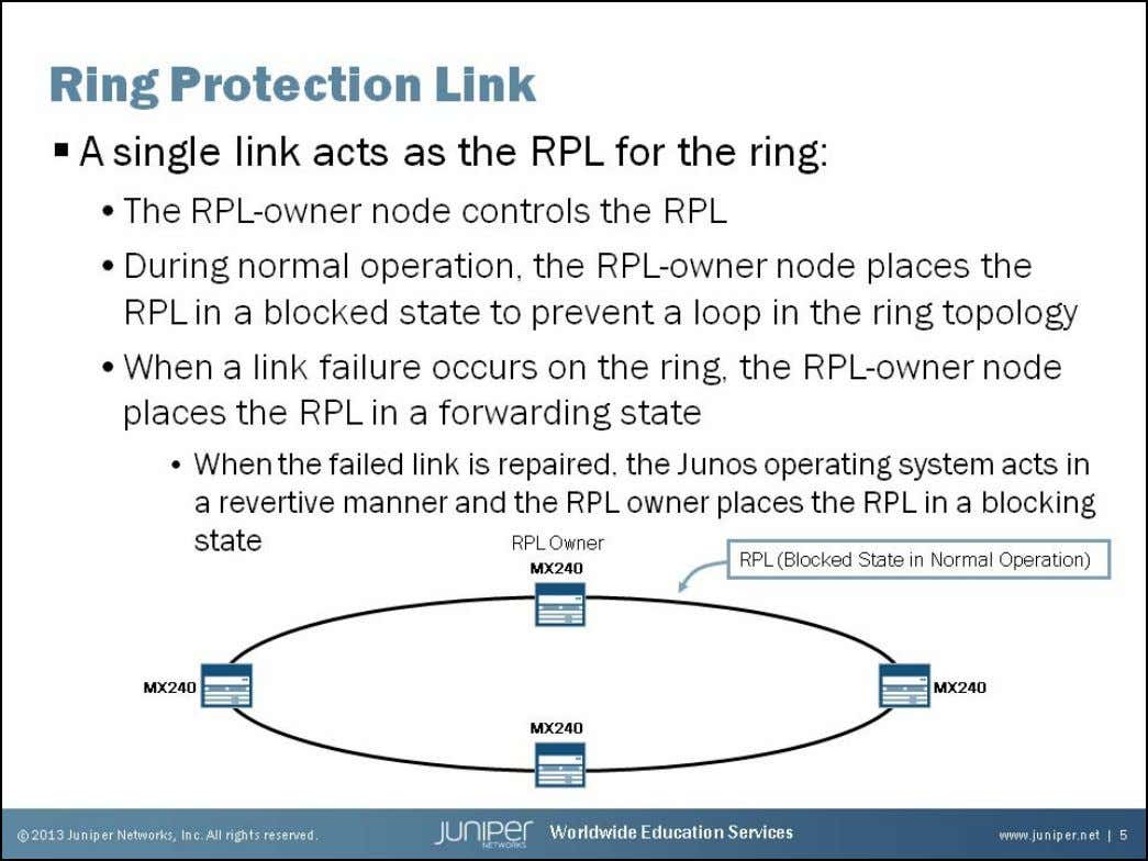 Junos Service Provider Switching Ring Protection Link To protect the Ethernet ring, a single link between