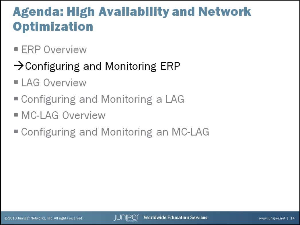 Junos Service Provider Switching Configuring and Monitoring ERP The slide highlights the topic we discuss next.