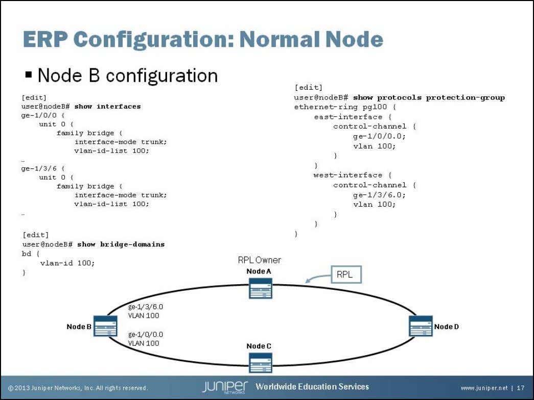 Junos Service Provider Switching Normal Node Configuration The slide shows a typical conf iguration for a