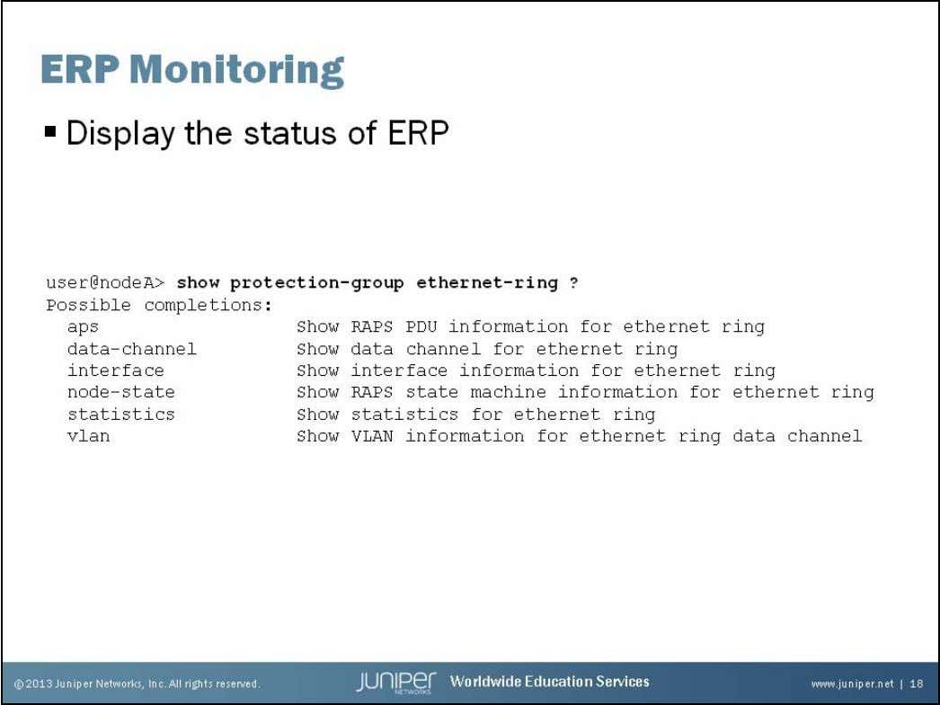 Junos Service Provider Switching ERP Status The slide shows all of the possible commands to mo