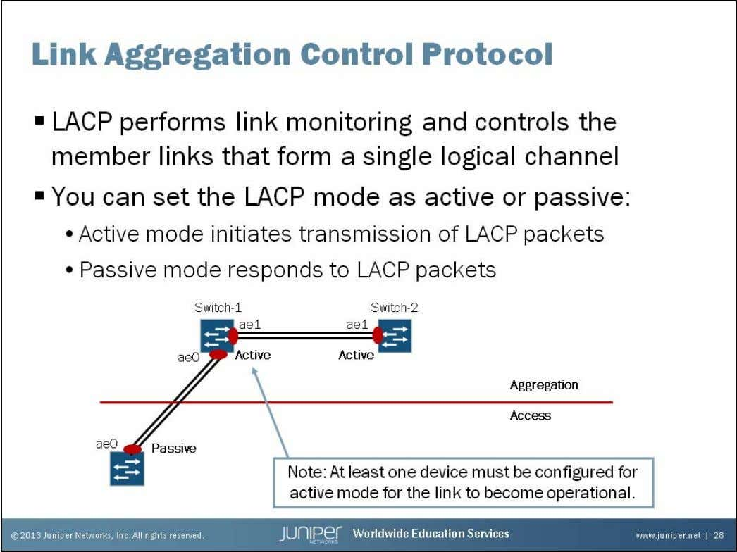 Junos Service Provider Switching Link Aggregation Control Protocol You can enable Link Aggregation Control Protocol (LACP)