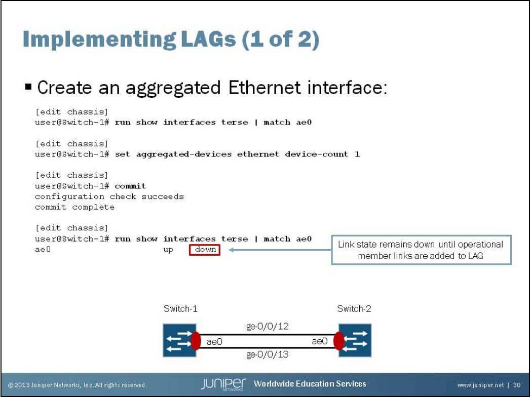 Junos Service Provider Switching Implementing LAGs: Part 1 By default, no aggregated interfaces exist. To create
