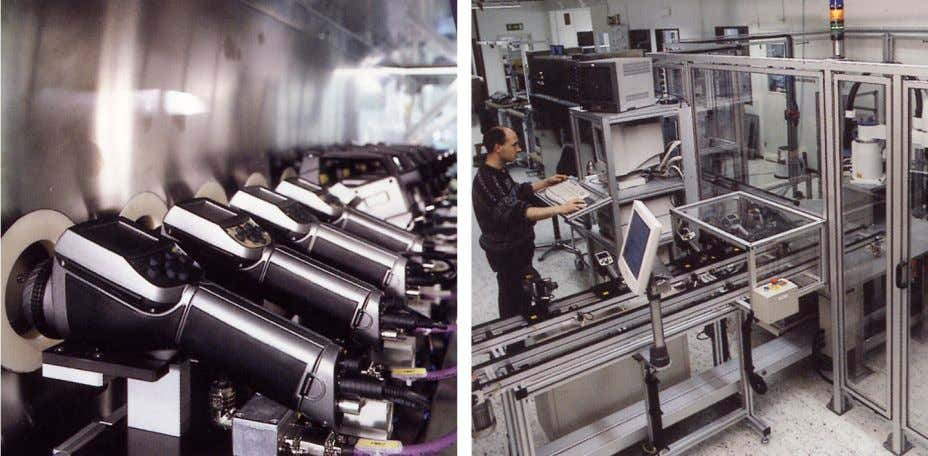 LEFT: Diamond turning machine; RIGHT: Lens polishing Figure 1.5 LEFT: Testing of IR cameras in the