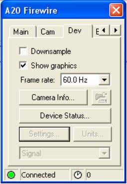 to connect and control the camera (FireWire only) 10430703;2 Figure 4.7 ThermoVision A-series FireWire dialog box