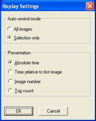 menu the following dialog box will appear. 10421903;1 Figure 4.31 Replay settings dialog box Auto rewind
