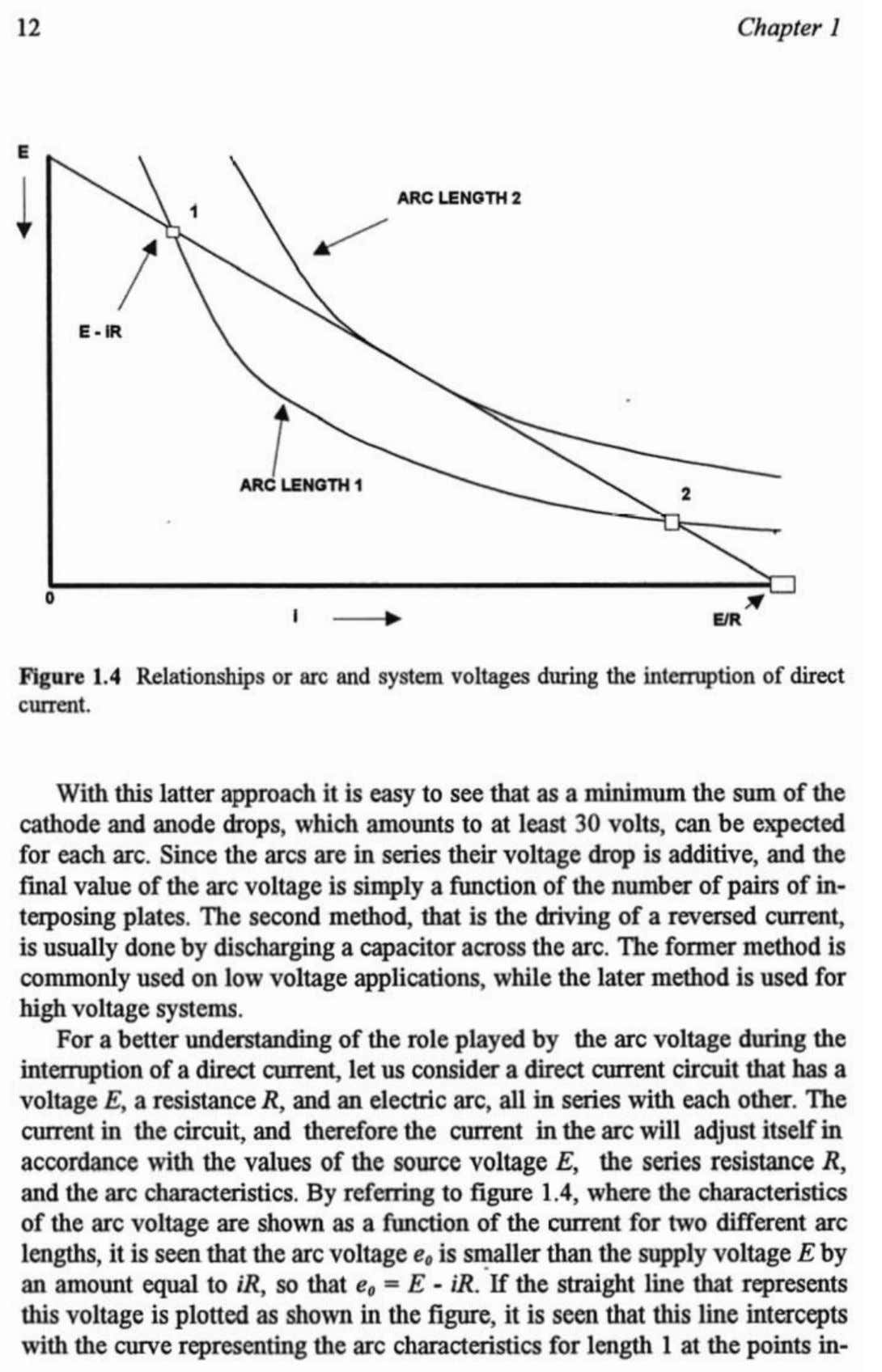 2 Figure 1.4 Relationships current. arc and system voltages during the interruptionof direct With latter