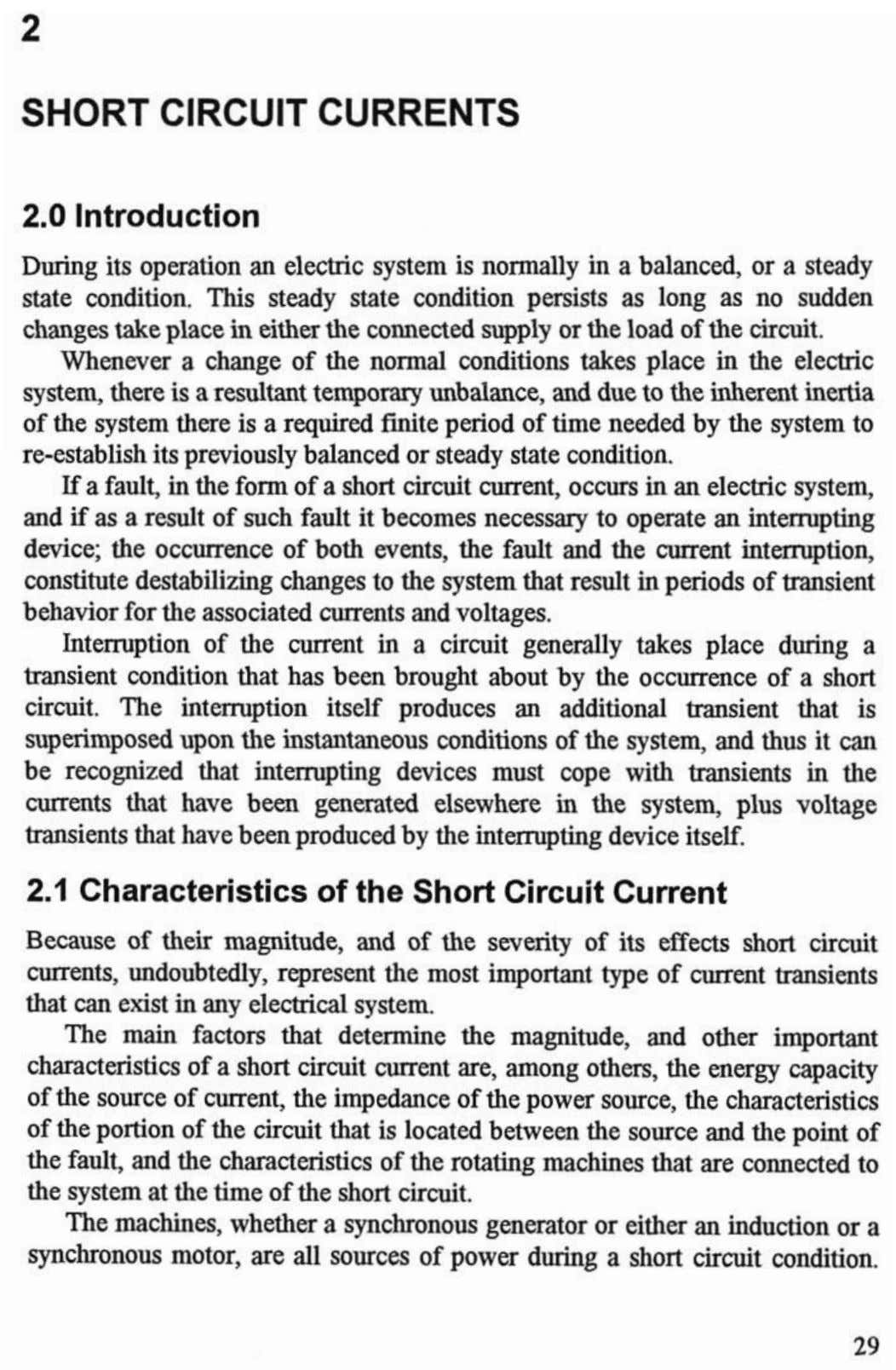 SHORT CIRCUIT CURRENTS 2.0 Introduction 2.1 Characteristics of the Short Circuit Current