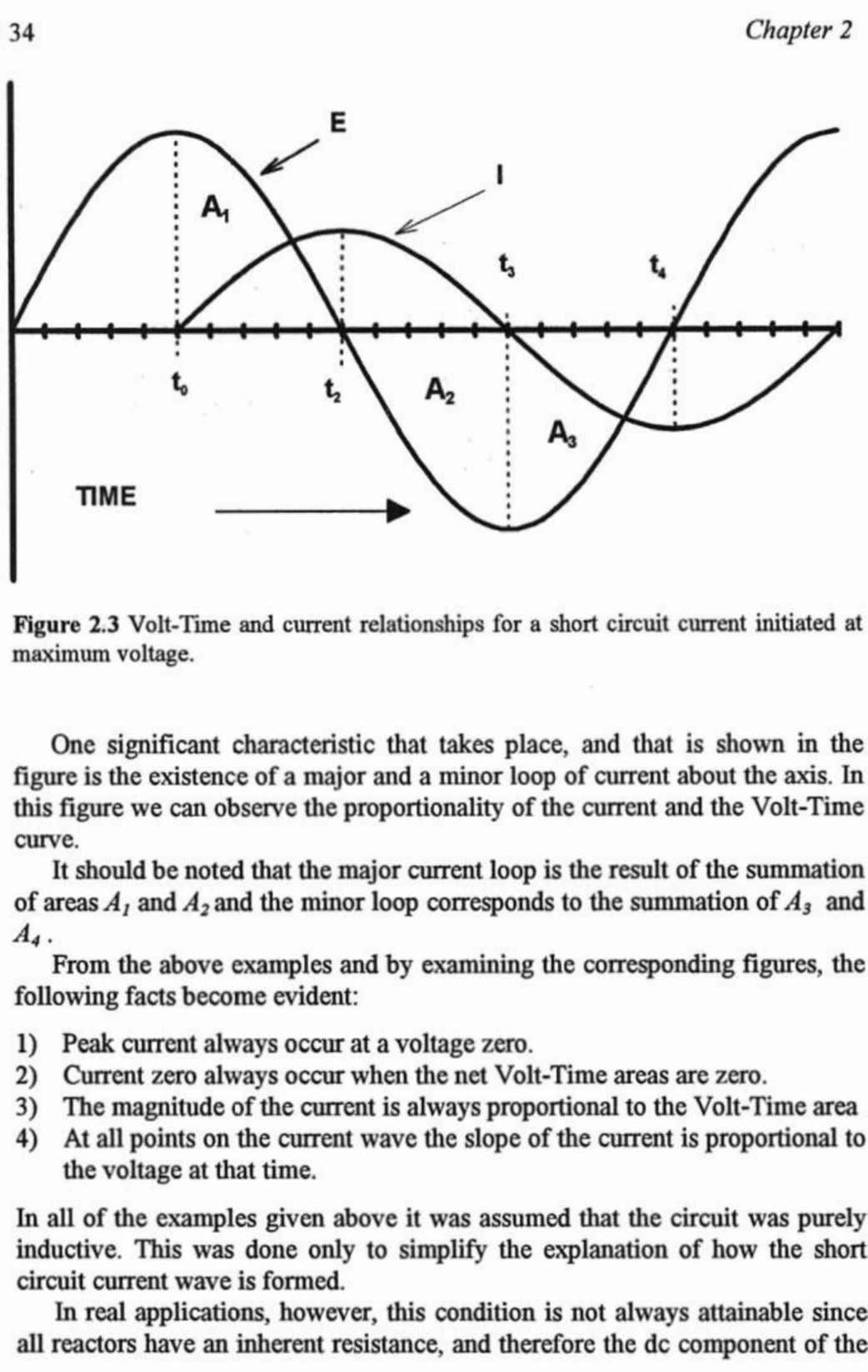 Figure 2.3 Volt-Time and current relationships for a maximum voltage. figure is the existenceof a