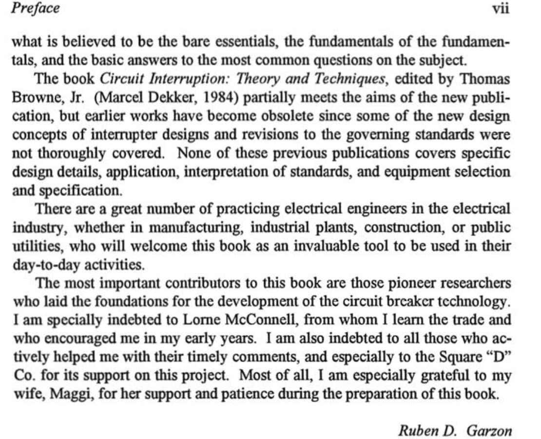 The book Circuit Interruption: Theory and Techniques,edited by Thomas Browne, Jr. (Marcel Dekker, 1984) partially