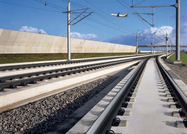 Photo 1: The HSR-line near Amsterdam Airport Schiphol. Courtesy of Rail.One GmbH and graphically edited
