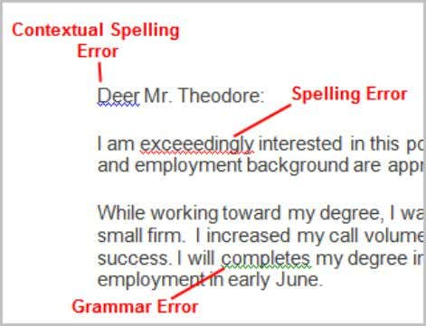letter.  The red line indicates a misspelled word.  The green line indicates a grammar