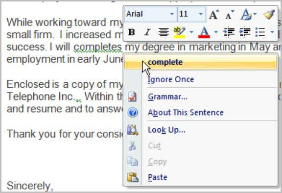 You can also choose to Ignore an underlined word, go to the Grammar dialog box,