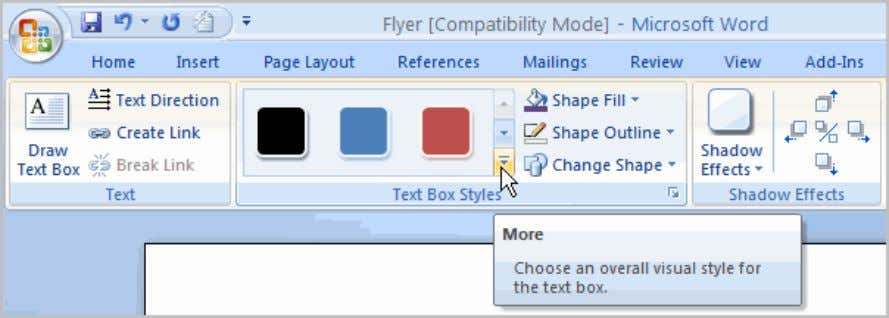  Move your cursor over the styles and Live Preview will preview the style in