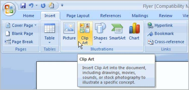Click the Clip Art command in the Illustrations group.  The Clip Art options appear in