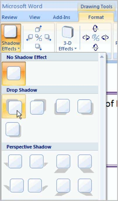  Click an option to select the shadow effect. Select Shadow Color from the menu