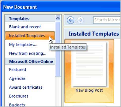 Select Installed Templates to choose a template on your computer.  Review the available templates. Page