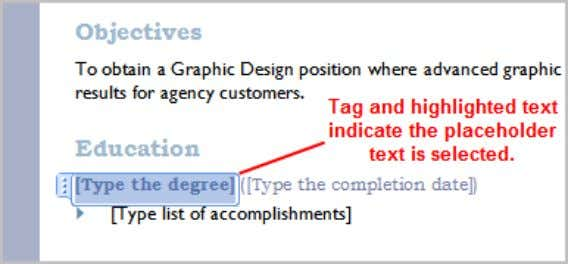 will appear highlighted and a template tag will appear.  Enter text. The placeholder text will