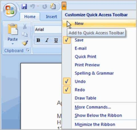 drop-down list. It will appear in the Quick Access toolbar. The Save, Undo, and Redo commands