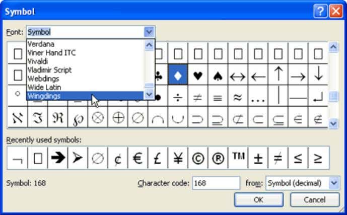  Left-click a symbol to select it.  Click OK. The symbol will now appear