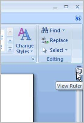 The View Ruler icon works as a toggle button to turn the ruler on and