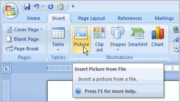 Illustrations group. The Insert Picture dialog box appears.  Select the image file on your computer.