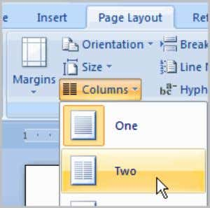 Two useful formatting features in Word are the columns and ordering commands. Columns are used