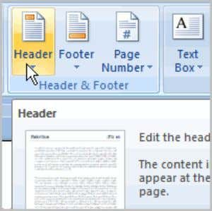 You can make your document look professional and polished by utilizing the header and footer