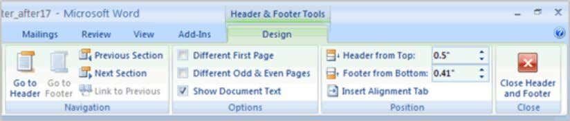 format tables, and create blank tables. The Design tab with Header and Footer tools is active.