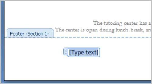  Type information into the header or footer. To Insert the Date or Time into a