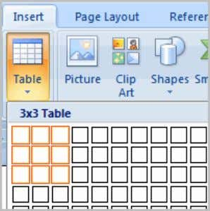 Working with Tables A table is a grid of cells arranged in rows and columns .