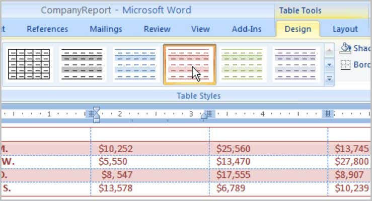 to select it. The table style will appear in the document. You can modify which table