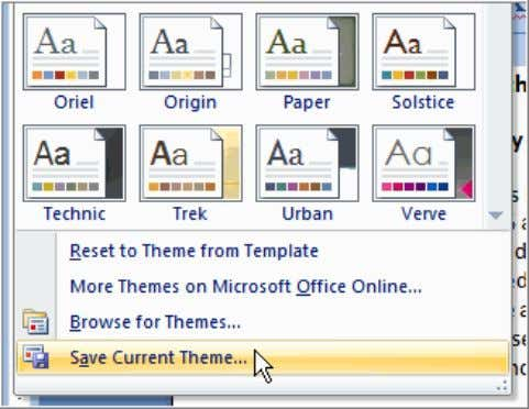  Enter a theme name and click Save . Now the theme is available to
