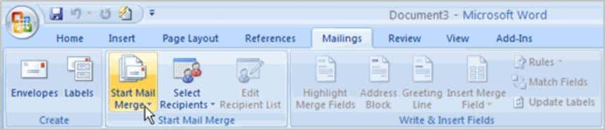 on the Ribbon.  Select the Start Mail Merge command.  Select Step by Step Mail