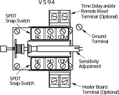 VS94 SPDT Time Delay and/or Remote Reset Terminal (Optional) Snap-Switch NC NO COM Ground Terminal