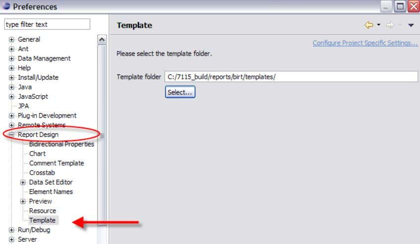 Templates. C. Browse to your local report template location and select Apply. <V7115>/reports/birt/templates 11