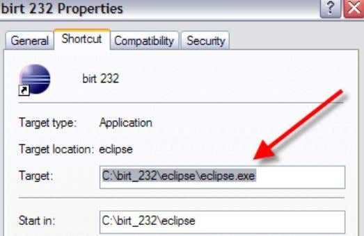 3A. Create a shortcut to BIRT Designer 232 from eclipse.exe. 3B. Update the shortcut's target to