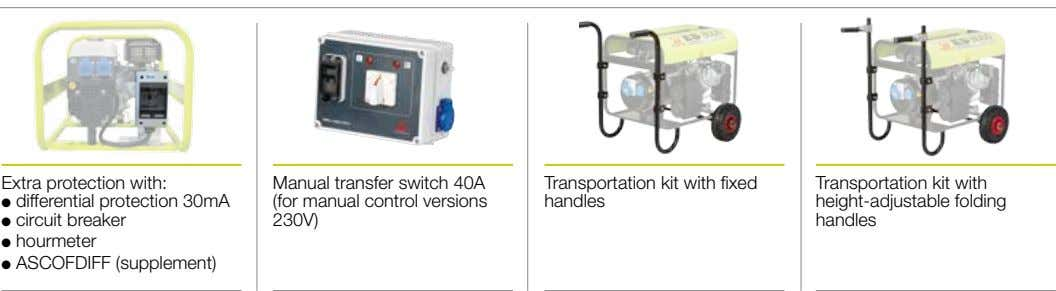 Extra protection with: Manual transfer switch 40A (for manual control versions l differential protection 30mA