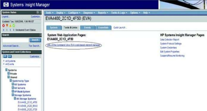 is displayed, enter the HP CV EVA user name and password. Figure 20: Launching HP CV