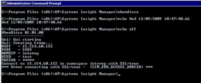 WBEMDISCO displays a message similar to the following: If this occurs, verify that the HP Storage