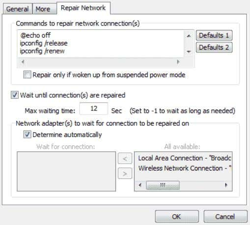 "instructions from our support team. Repair Network Tab "" Commands to repair network connection(s) "" -"