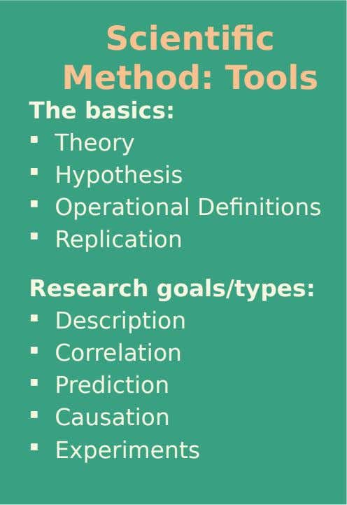 Scientific Method: Tools The basics: and Goals  Theory  Hypothesis  Operational Definitions  Replication