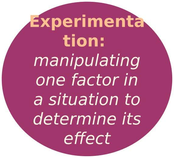 Experimenta tion: manipulating one factor in a situation to determine its effect