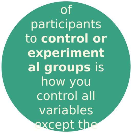 of participants to control or experiment al groups is how you control all variables except the
