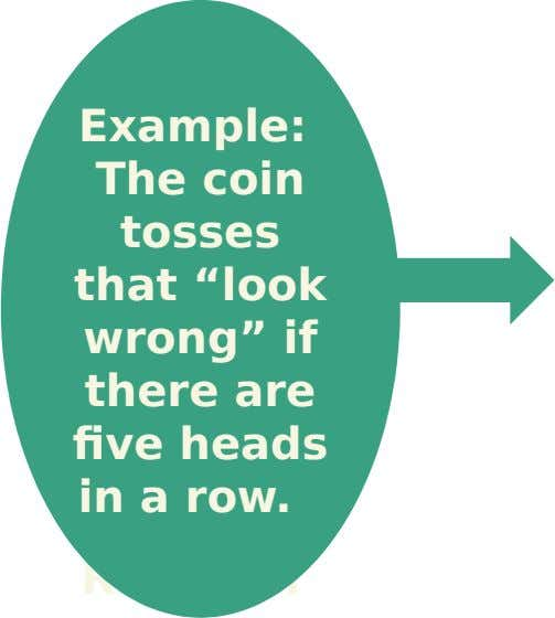 "Example: The coin tosses that ""look wrong"" if there are five heads in a row. Result"