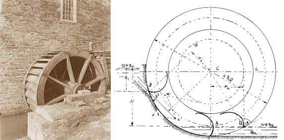 wheel to operate with constant speed of the inflowing water. a. Typical breast wheel, 4.8m dia.,
