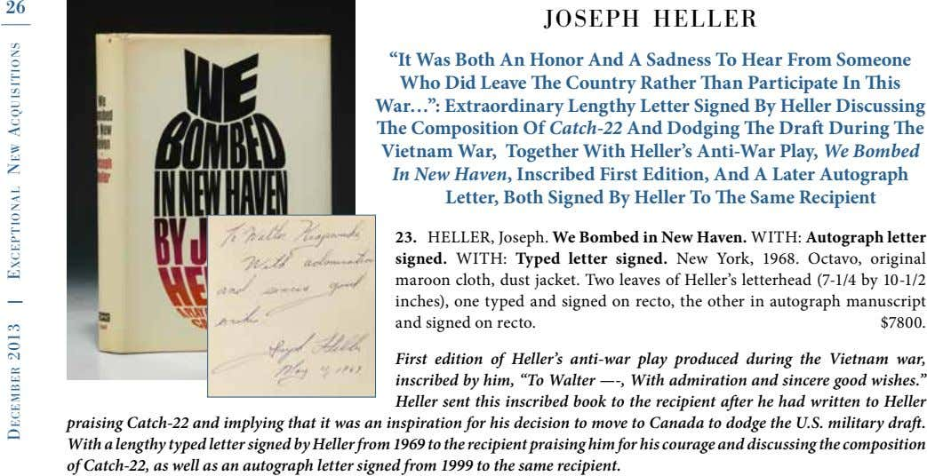 "26 joseph heller ""It Was Both An Honor And A Sadness To Hear From Someone"