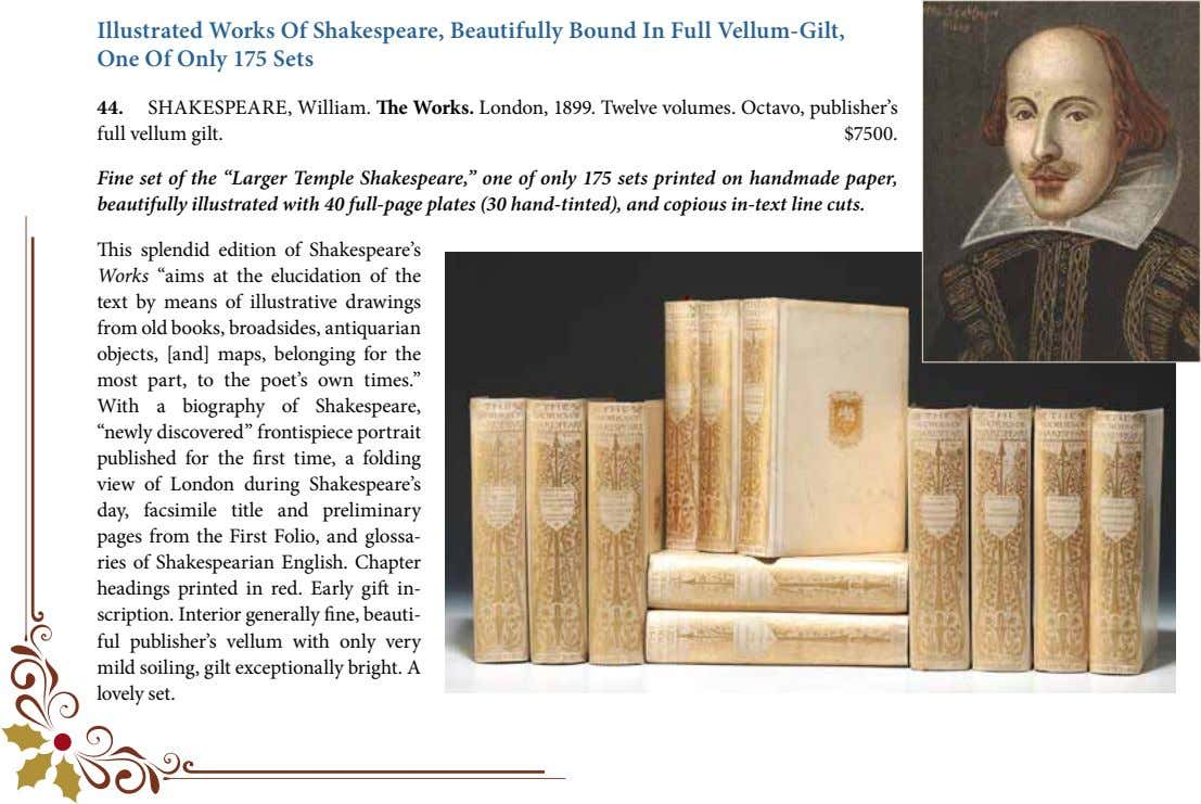 Illustrated Works Of Shakespeare, Beautifully Bound In Full Vellum-Gilt, One Of Only 175 Sets 44.