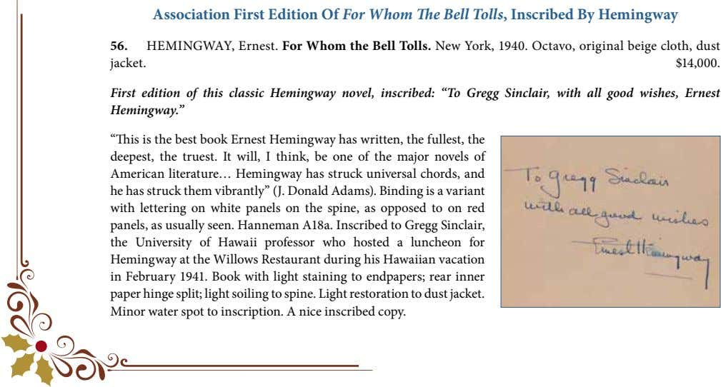 Association First Edition Of For Whom The Bell Tolls, Inscribed By Hemingway 56. HEMINGWAY, Ernest.