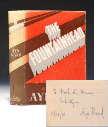 """To Frank N. Skinner— Cordially—Ayn Rand, 5/28/70."" From 1935 to 1943, Rand worked as a secretary"